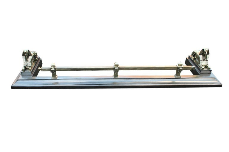 Victorian Late 19th Century Polished Cast Iron and Brass Fireplace Fender For Sale