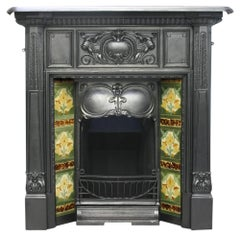 Antique Art Nouveau Edwardian Cast Iron Fireplace