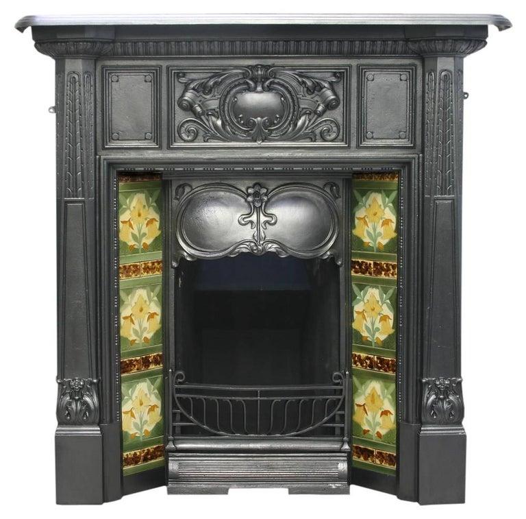Antique Vintage Bedroom Fireplace: Antique Edwardian Cast Iron Art Nouveau Bedroom Fireplace