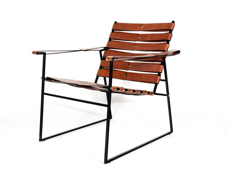 Scandinavian Modern Chair Five, Powder-Coated Steel and Hand-Sewn Leather Lounge Chair For Sale