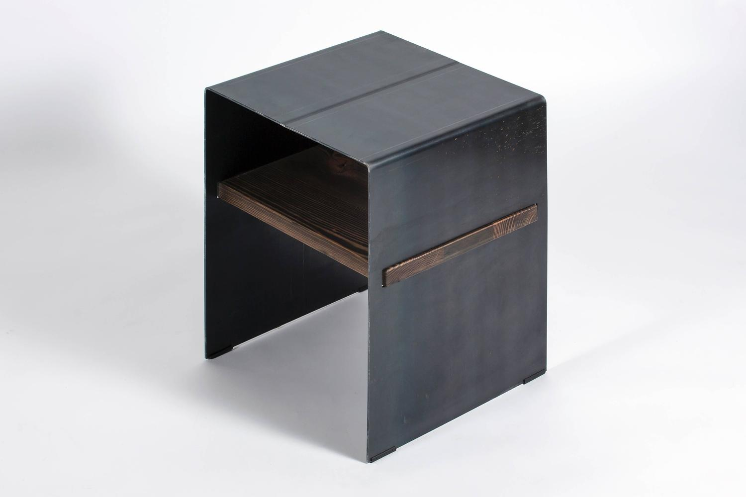 Folded Metal Side Table With Wood Inlay Shelf For Sale At