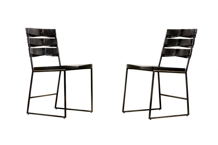 Industrial Chair 5 Diner with Blackened Steel, Ebonized Ash Seat with Brass Inlay, Leather For Sale