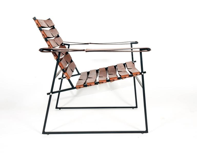 American Chair 5, Powder-Coated Steel and Hand-Sewn Leather Lounge Chair with Ottoman For Sale