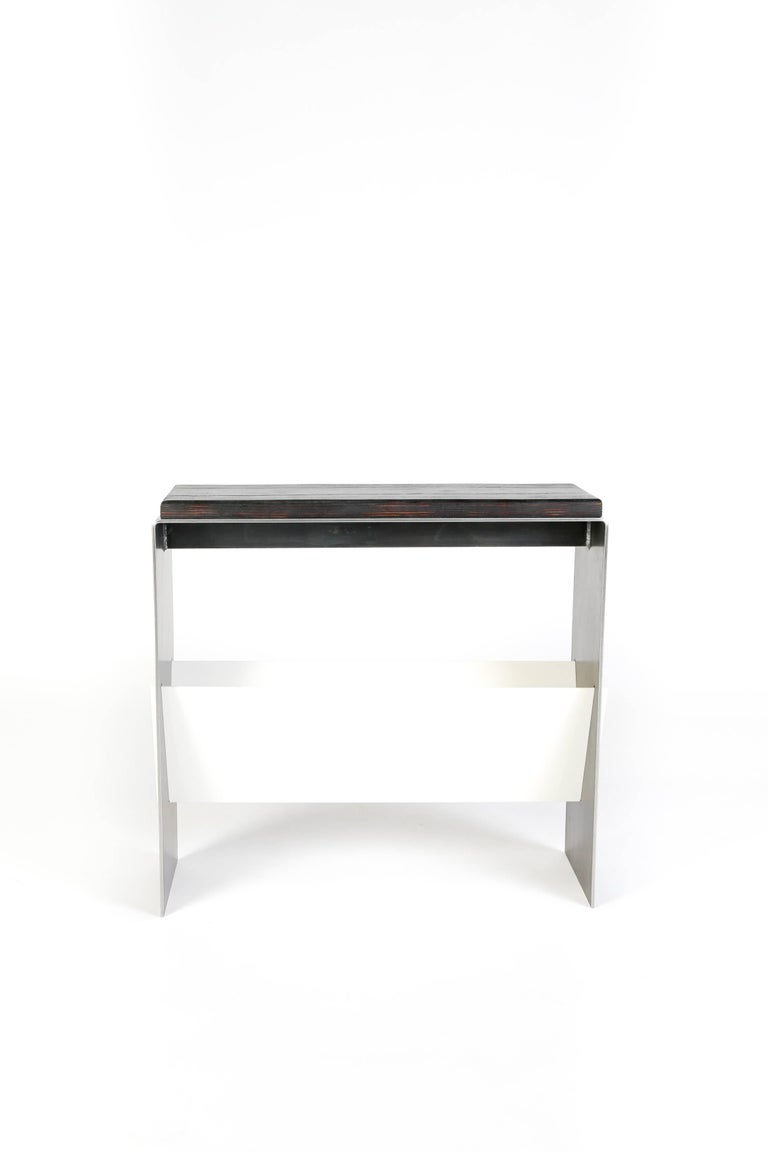 Modern The V Table, a Combination of Reclaimed Fir and Powder Coated and Raw Steel For Sale
