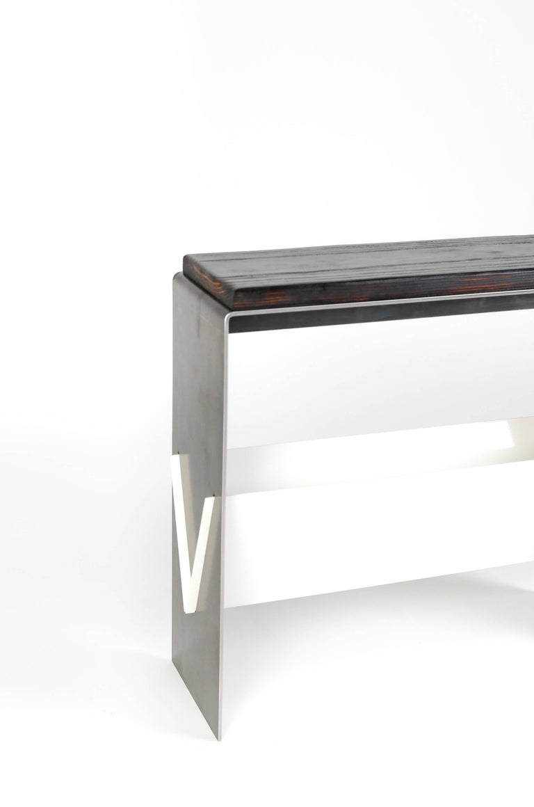 American The V Table, a Combination of Reclaimed Fir and Powder Coated and Raw Steel For Sale