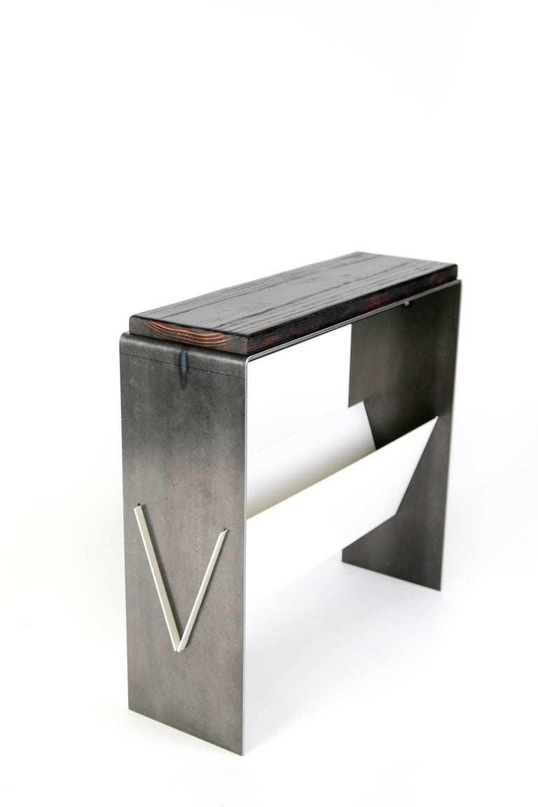 The V Table, a Combination of Reclaimed Fir and Powder Coated and Raw Steel For Sale 2