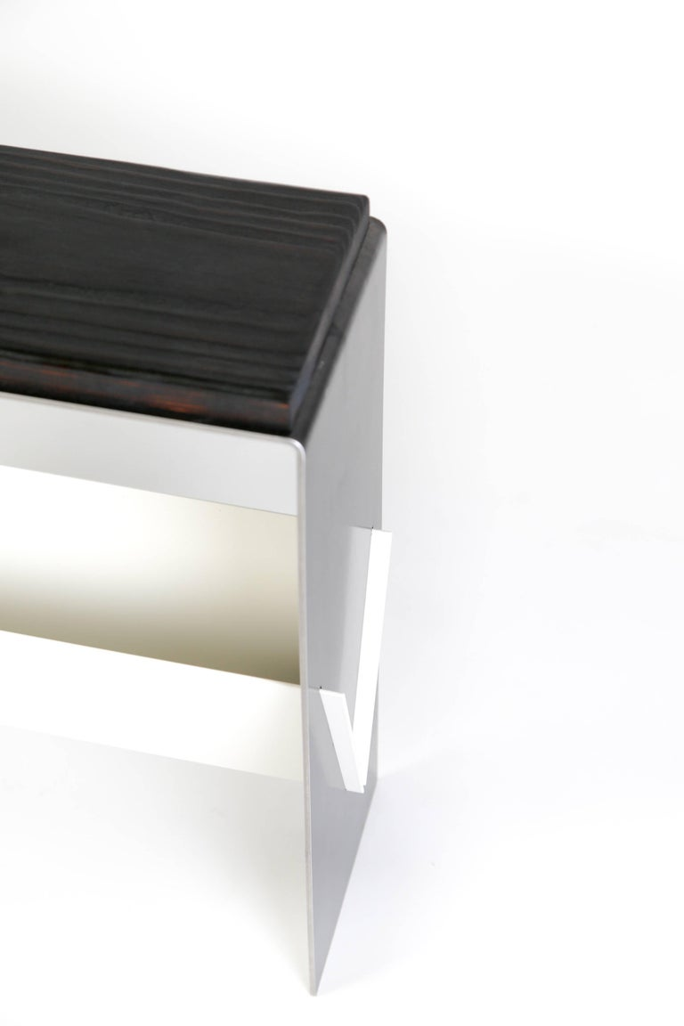 Hand-Crafted The V Table, a Combination of Reclaimed Fir and Powder Coated and Raw Steel For Sale