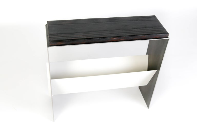 Contemporary The V Table, a Combination of Reclaimed Fir and Powder Coated and Raw Steel For Sale