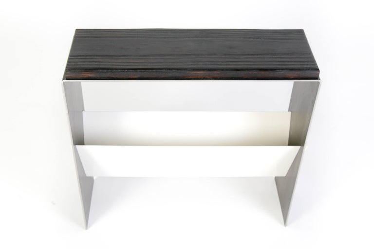 The V Table, a Combination of Reclaimed Fir and Powder Coated and Raw Steel For Sale 1