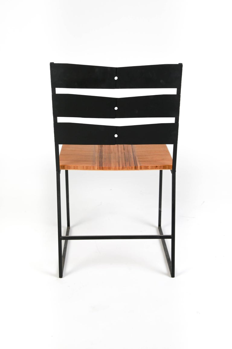 Chair 5 Diner with Blackened Steel and Bamboo Seat In New Condition For Sale In Bozeman, MT