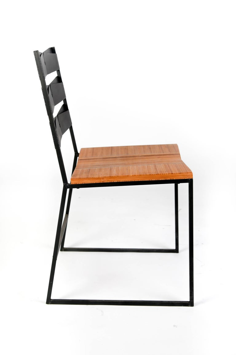 American Chair 5 Diner with Blackened Steel and Bamboo Seat For Sale