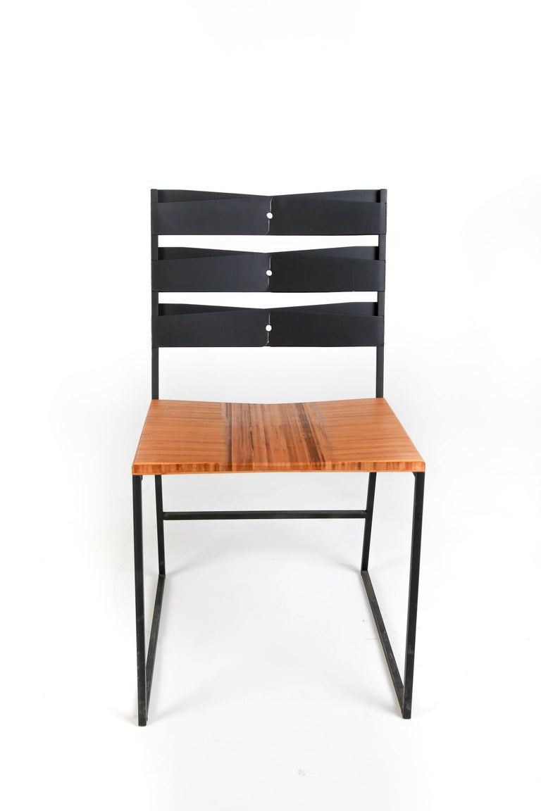 Industrial Chair 5 Diner with Blackened Steel and Bamboo Seat For Sale