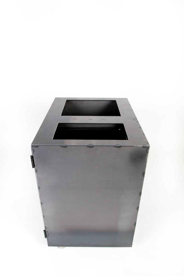 Hand-Crafted Minimal Modern Custom Steel Garbage & Recycle Bin (custom logos upon request) For Sale