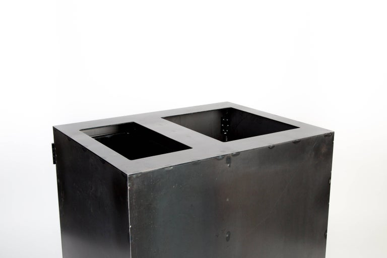 Contemporary Two-Bay Garbage & Recycle Bin, Modern Solution to a Variety of Storage Problems For Sale