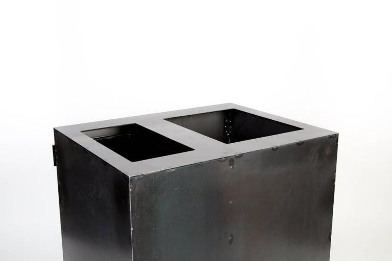 Contemporary Minimal Modern Custom Steel Garbage & Recycle Bin (custom logos upon request) For Sale