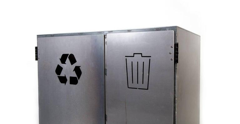 American Minimal Modern Custom Steel Garbage & Recycle Bin (custom logos upon request) For Sale