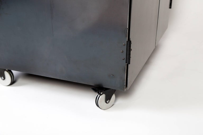 Steel Two-Bay Garbage & Recycle Bin, Modern Solution to a Variety of Storage Problems For Sale