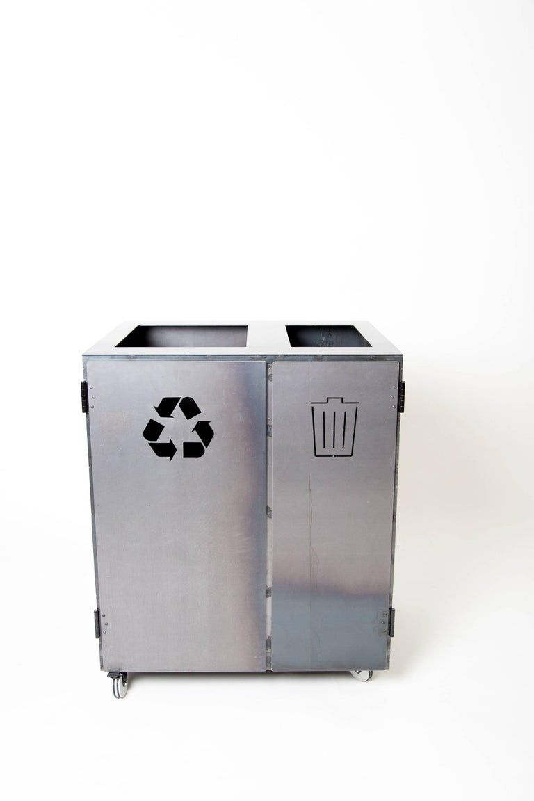 Two-Bay Garbage & Recycle Bin, Modern Solution to a Variety of Storage Problems For Sale 1