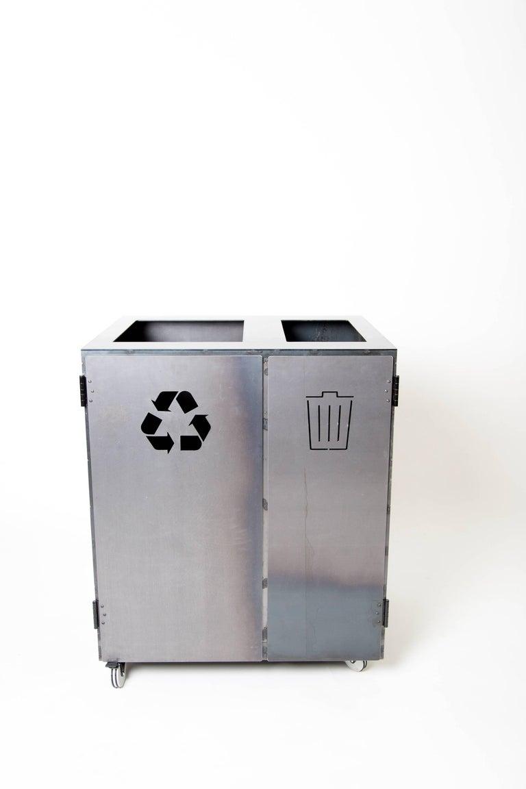 Minimal Modern Custom Steel Garbage & Recycle Bin (custom logos upon request) For Sale 2