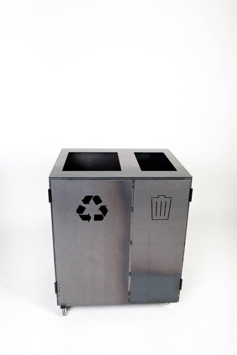 Minimal Modern Custom Steel Garbage & Recycle Bin (custom logos upon request) For Sale 3
