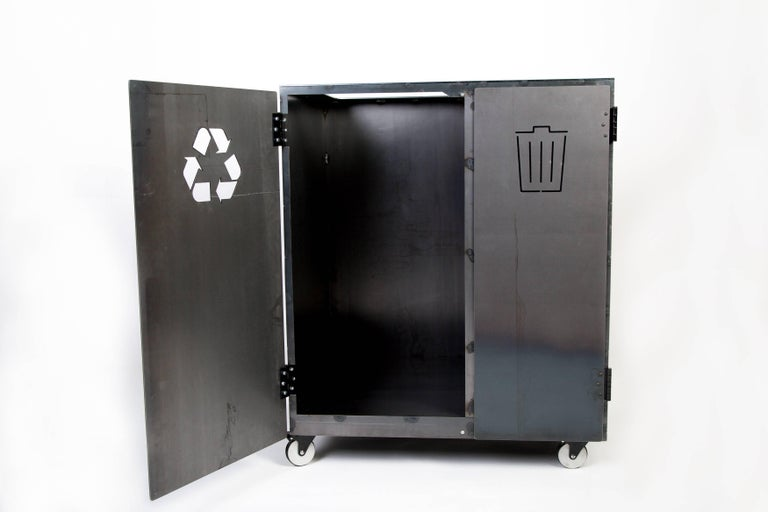 Two-Bay Garbage & Recycle Bin, Modern Solution to a Variety of Storage Problems For Sale 3
