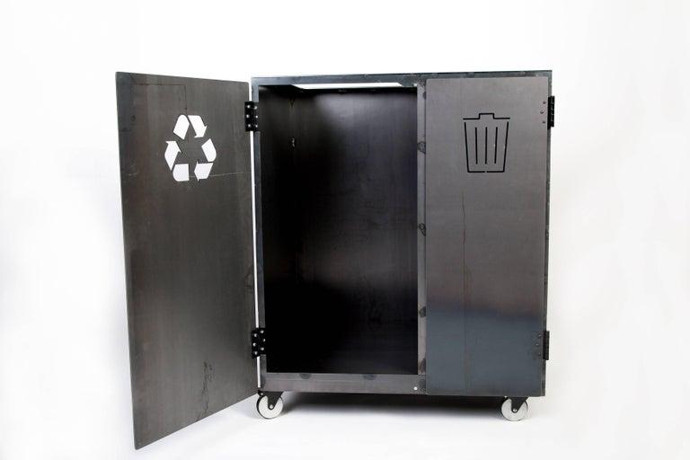 Minimal Modern Custom Steel Garbage & Recycle Bin (custom logos upon request) For Sale 4