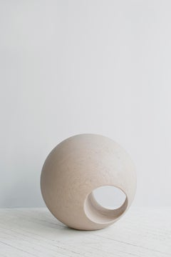 "24"" R Sculptural Wood Sphere in Creamwash by May Furniture"