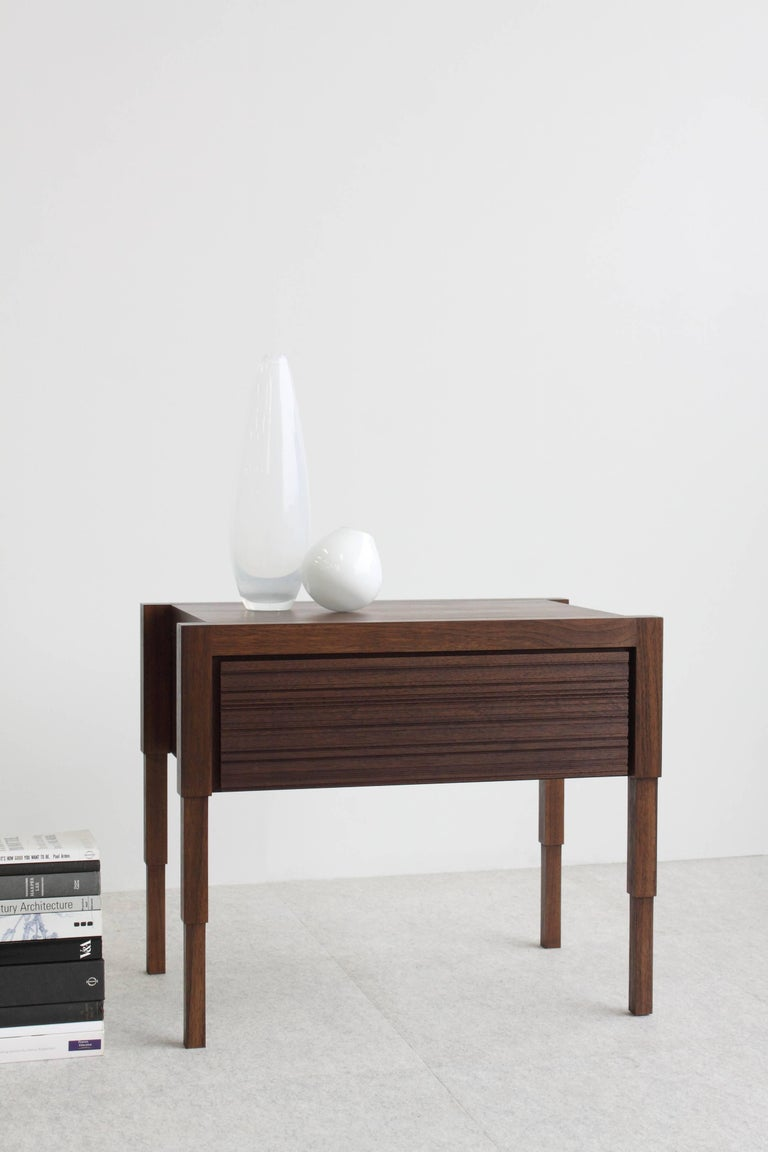 Modern Chicago Case Side Table in Walnut by May Furniture For Sale