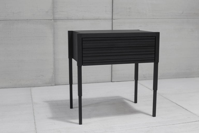 Woodwork Chicago Case Side Table in Blackened Walnut by May Furniture For Sale