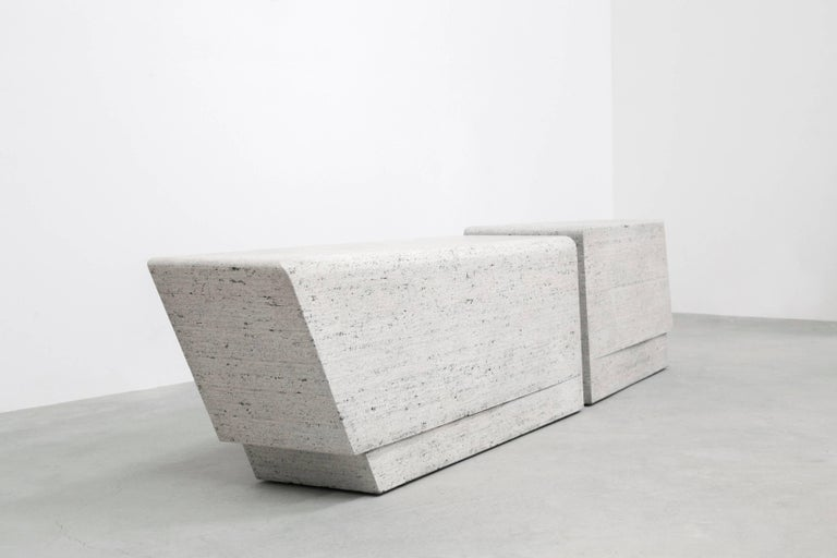 Brutalist In Stock 8' Adamah Wood Glacier Bench in Blanc Noir by May Furniture For Sale