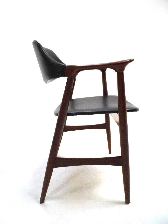 Scandinavian Teak And Black Vinyl Desk Armchair Midcentury