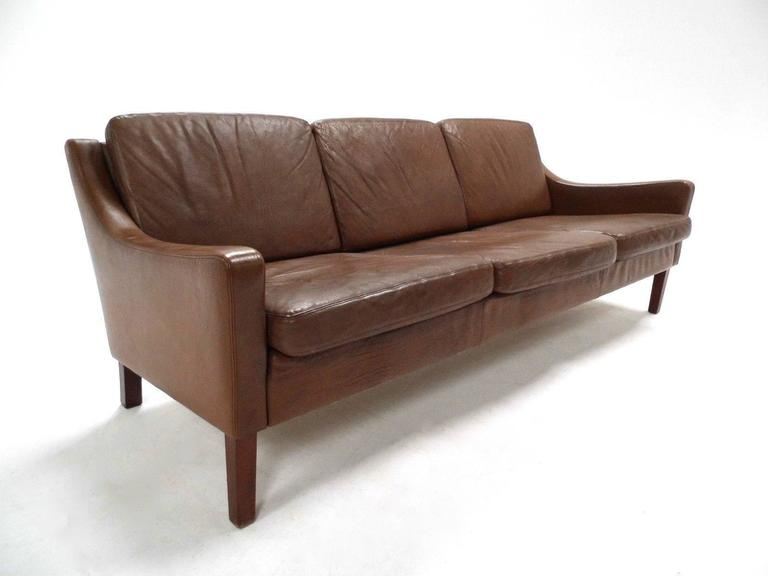 Danish Olive Brown Leather Three-Seat Sofa Mogensen Style Mid-Century, 1960s At 1stdibs