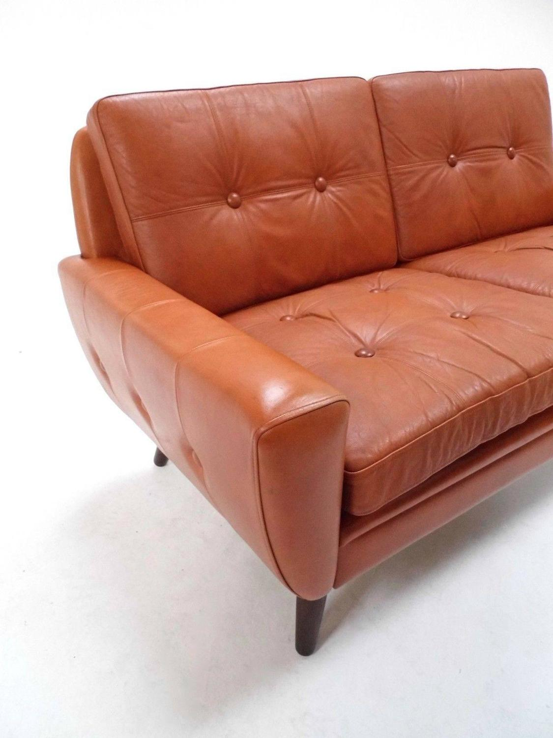 Danish Skipper Mobler Tan Brown Leather Two-Seat Sofa, Midcentury ...