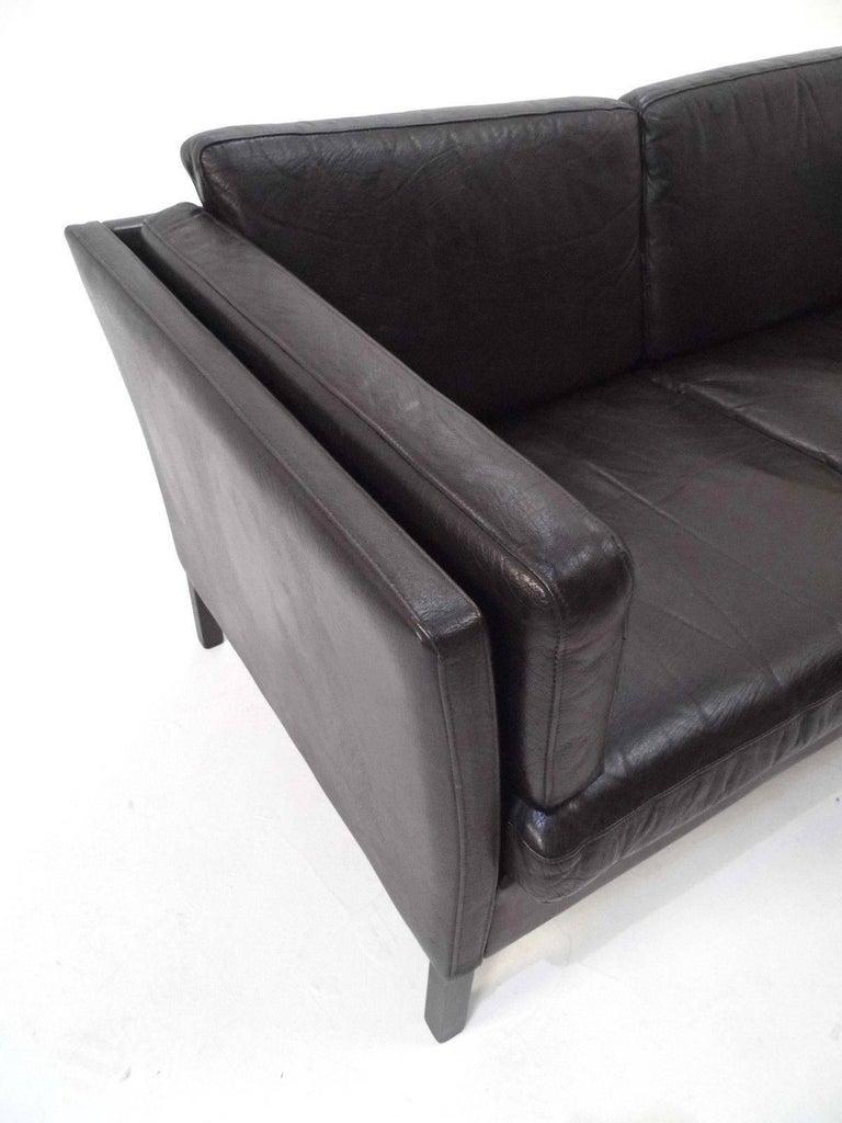 Danish Dark Brown Black Leather Two Seat Sofa Midcentury