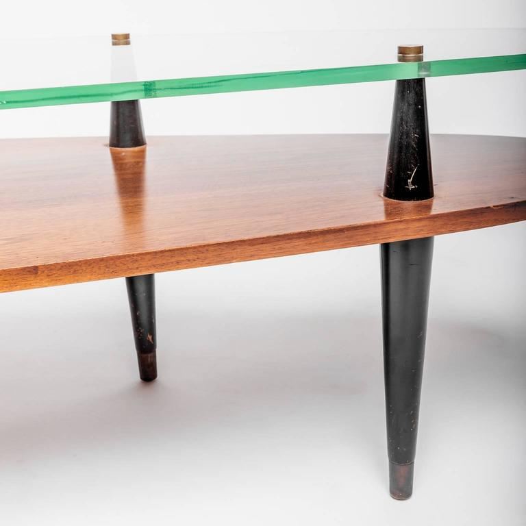 Mid century wood and glass coffee table at 1stdibs for Cie no 85 table 4