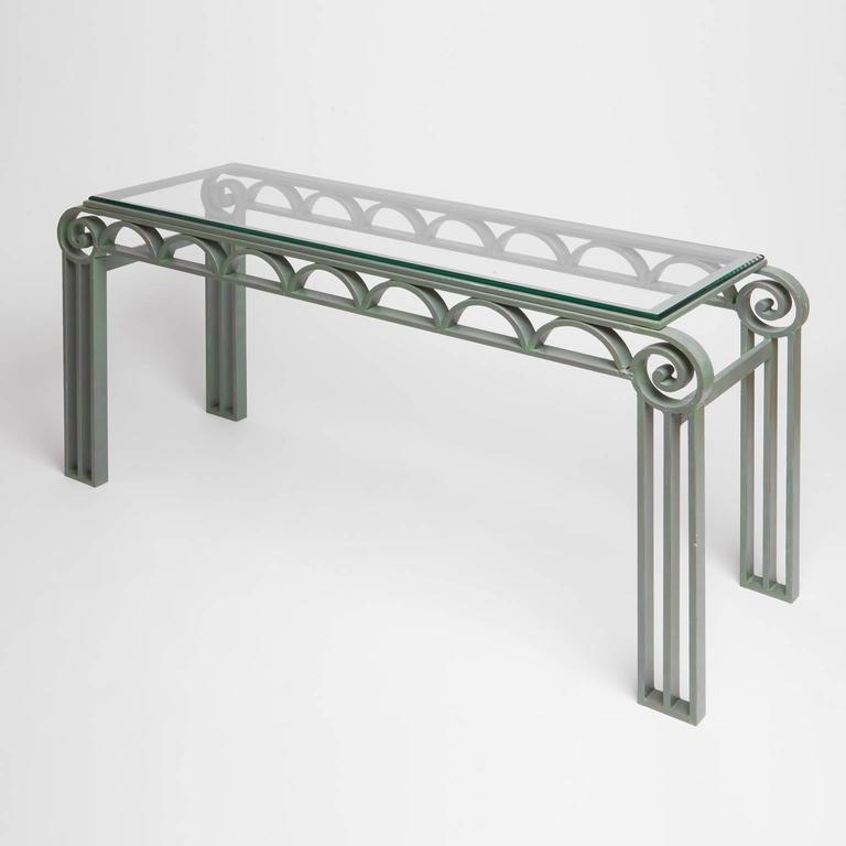 Art deco style iron console table with glass top at 1stdibs for Metal console tables glass top