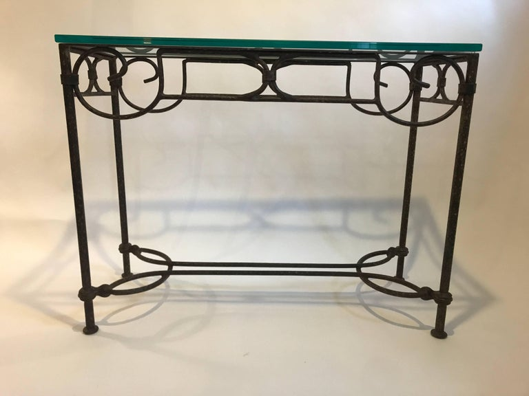 Wrought Iron Console Table With Scrolling Detailing And A 3 4 Thick Gl Top