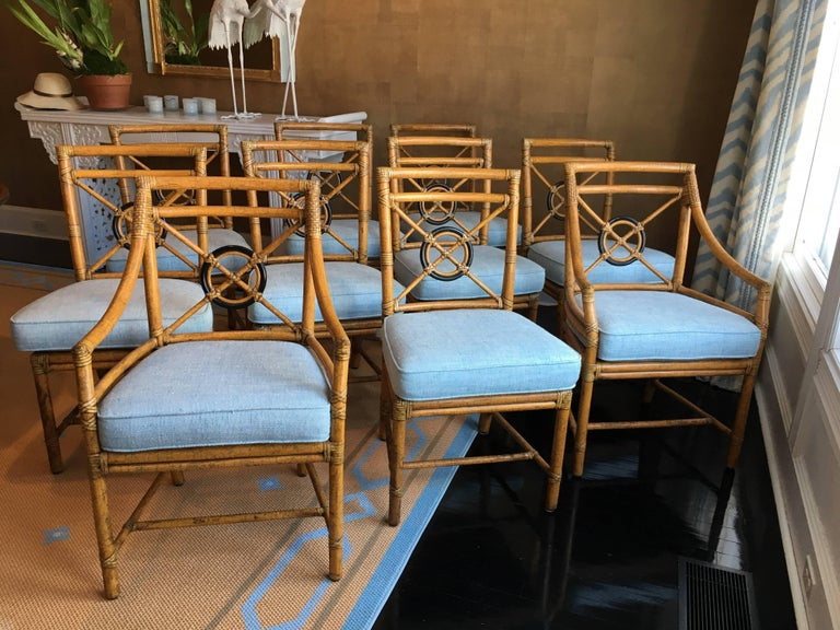 Set of Ten \'Target\' Rattan Dining Chairs by McGuire at 1stdibs