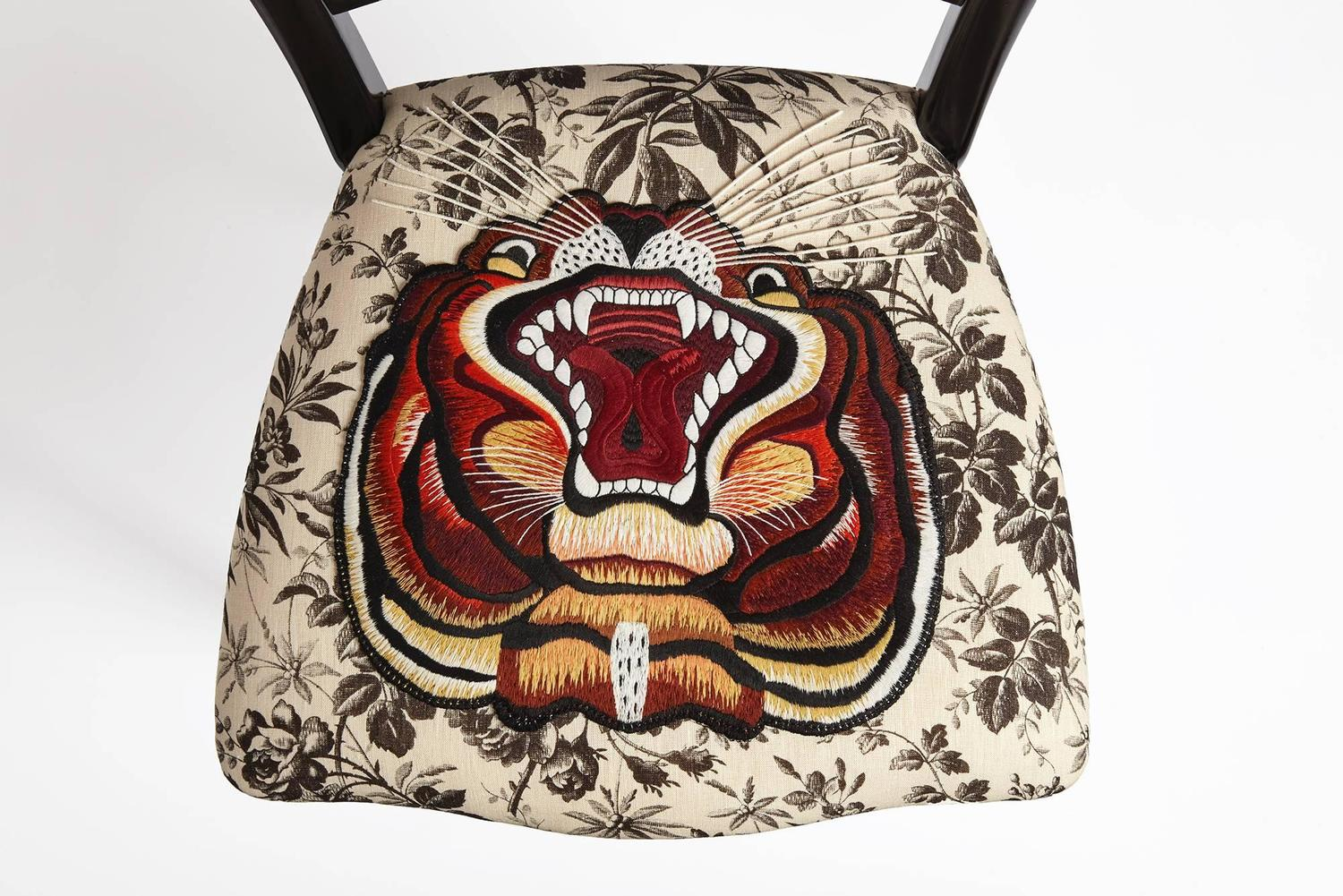 Unique Chair By Gucci Hand Embroidered Tiger On Black