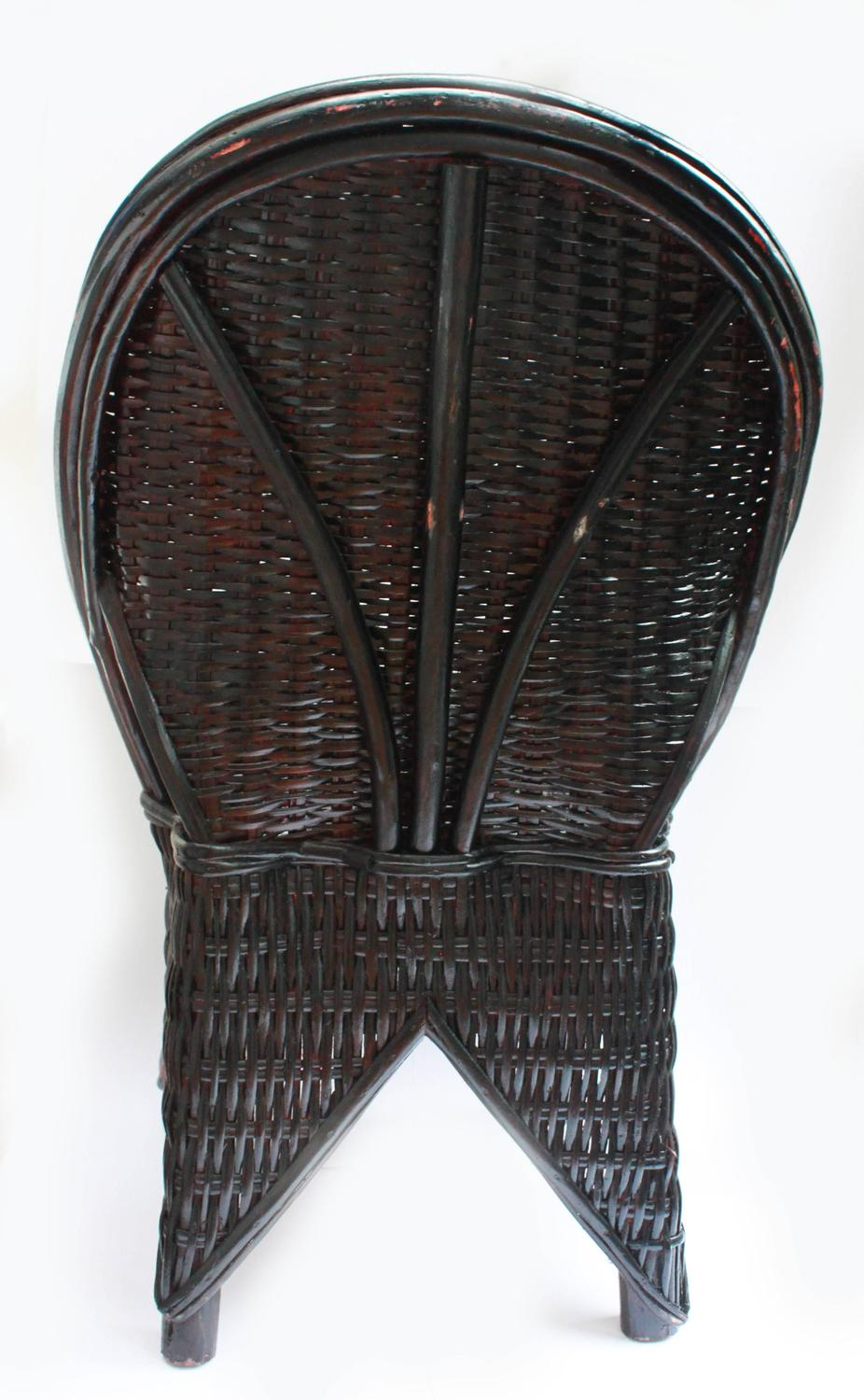 Black Wicker Chair Handmade in Morocco For Sale at 1stdibs