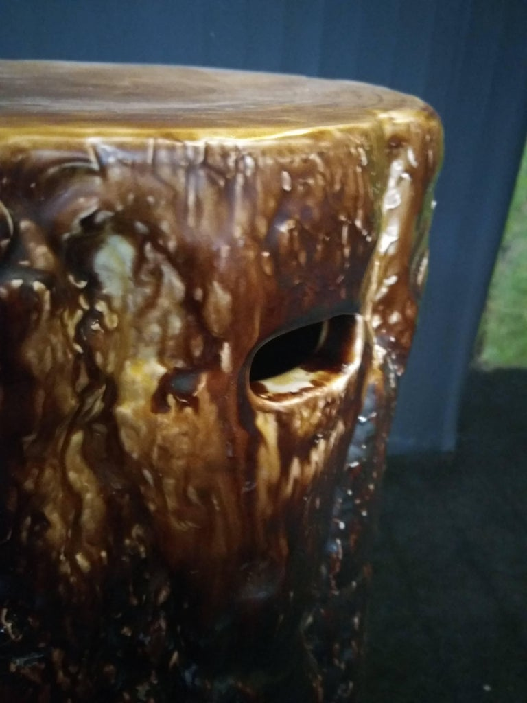 19th Century Majolica Stool by Gustavsberg Factory In Excellent Condition For Sale In Paris, FR