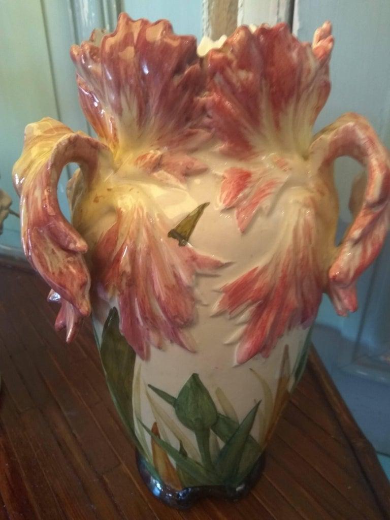 Delphin Massier, Tulipe Vase, Majolica, circa 1890-1900 For Sale 1