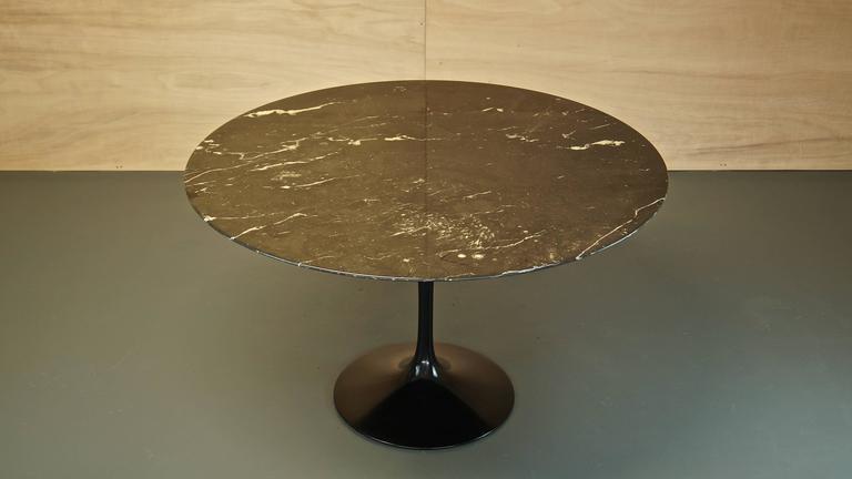 Eero Saarinen Black Nero Marble Tulip Dining Table For Knoll Mid - Black marble saarinen table