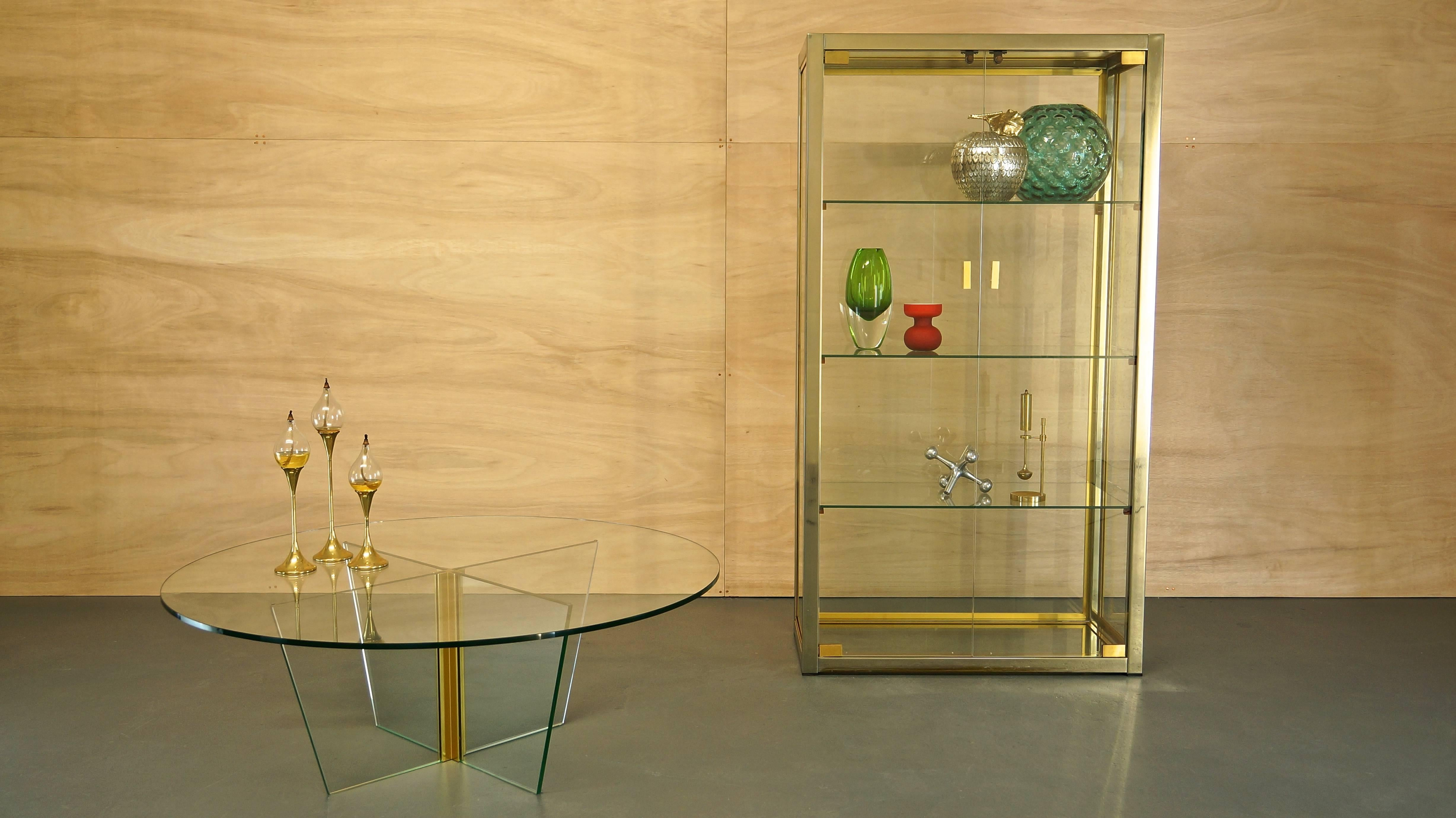 Italian Glass/Brass/Chrome Display Cabinet by Renato Zevi, Rizzo ...