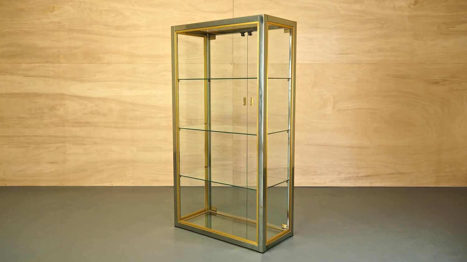 #A78624 Italian Glass/Brass/Chrome Display Cabinet By Renato Zevi  with 1500x843 px of Best Glass Display Cabinets Italian 8431500 image @ avoidforclosure.info