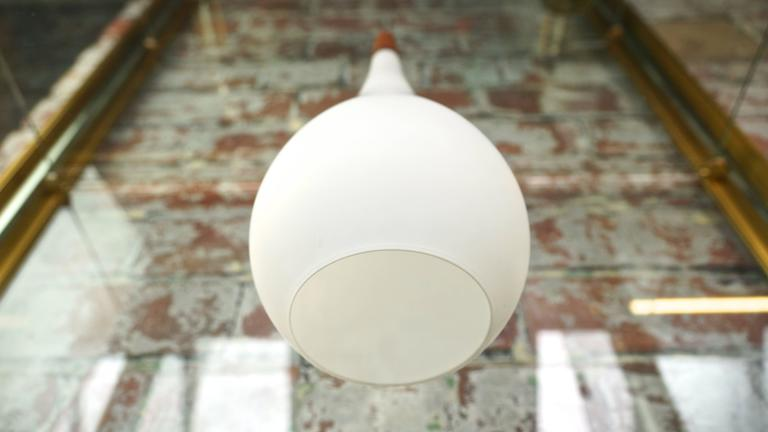Vintage Danish Holmegaard White Glass Pendant Drop Ceiling