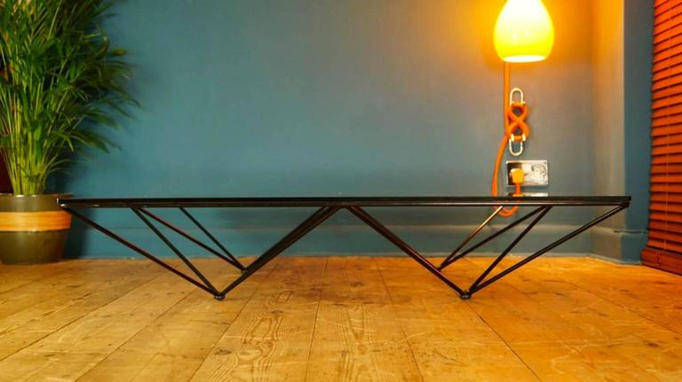 Alanda table designer and manufacturer: Paolo Piva for B&B Italia design: 1980s highly sought after authentic vintage coffee table designed by Paolo Piva for B&B Italia in 1981. Black powder coated steel frame with a very heavy, thick