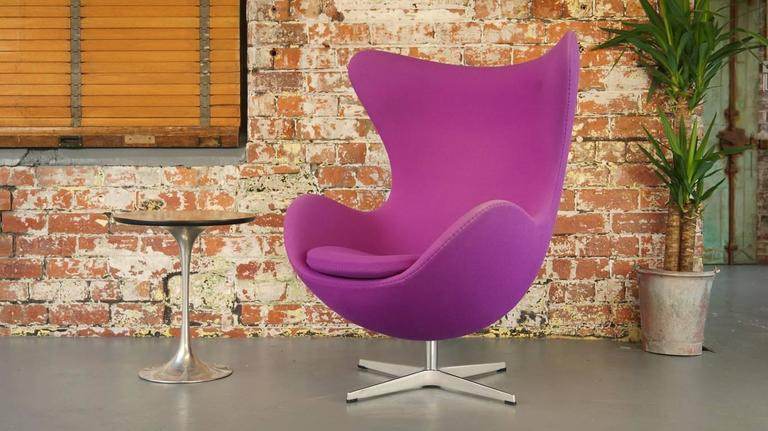 Genuine Wool Egg Chair In Purple With A Hint Of Fuchsia. Featuring A Tilt  And