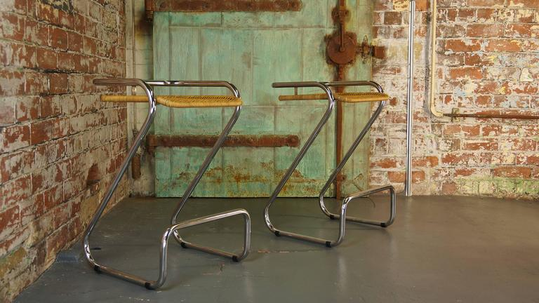 Pair Of Vintage Italian Chrome And Wicker Bar Stools Or