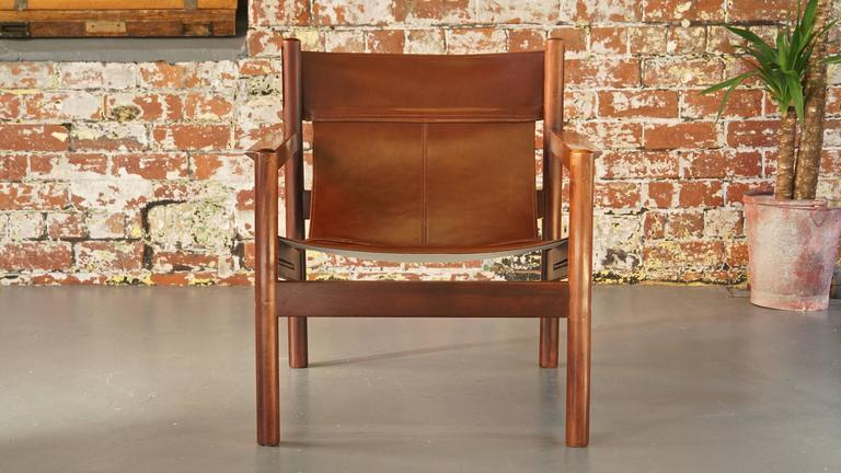 Ordinaire Mid Century Modern Michel Arnoult Roxinho Tan Leather Safari Chair Or Sling  Chair, Vintage